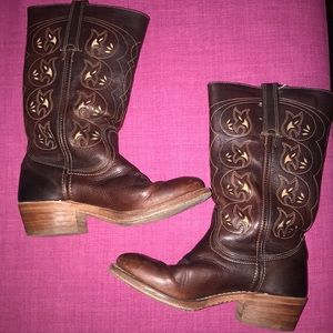 Frye Cowboy Boots Calf Length Boots Brown Leather
